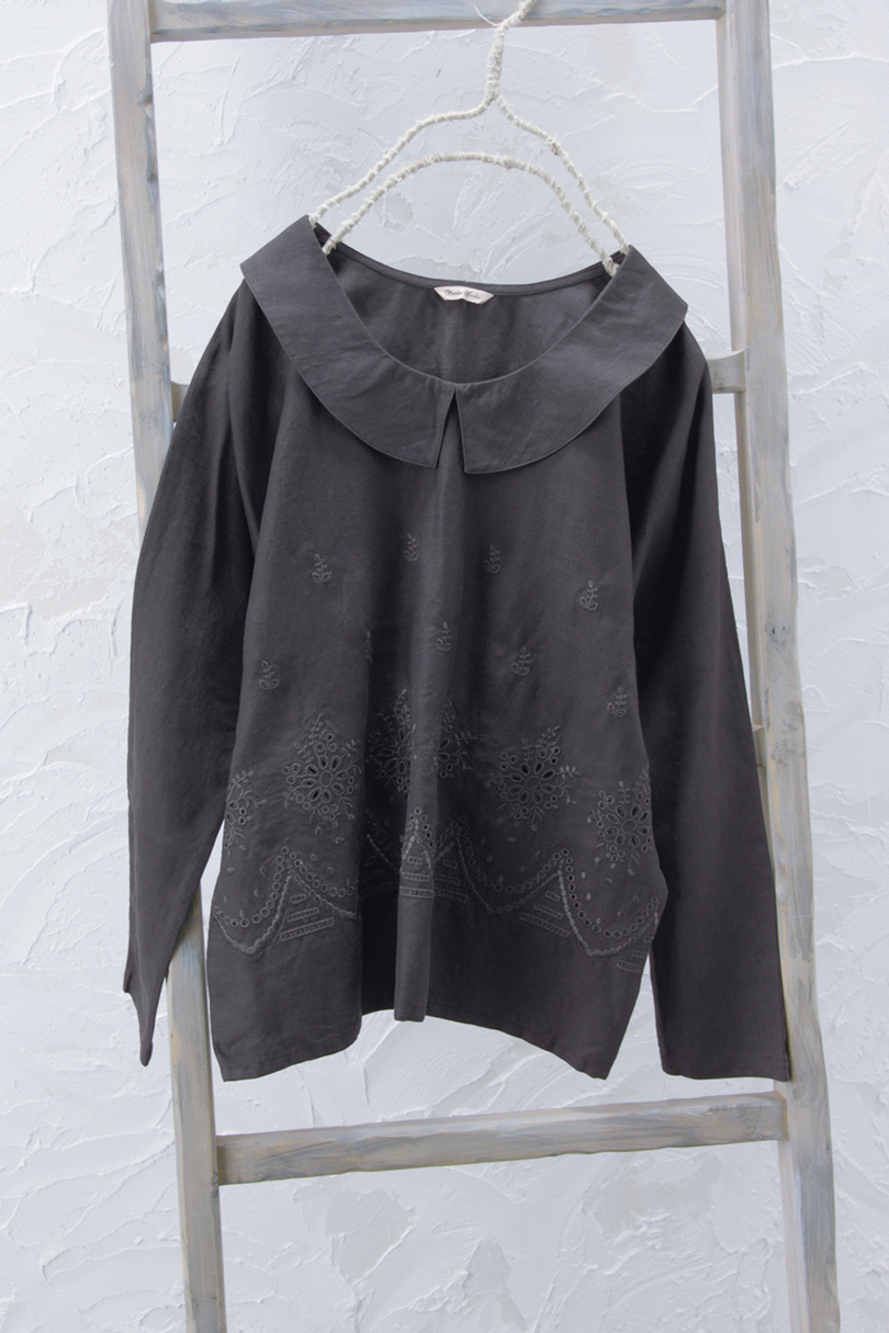 カットワーク衿付きプルオーバー(製品洗い)