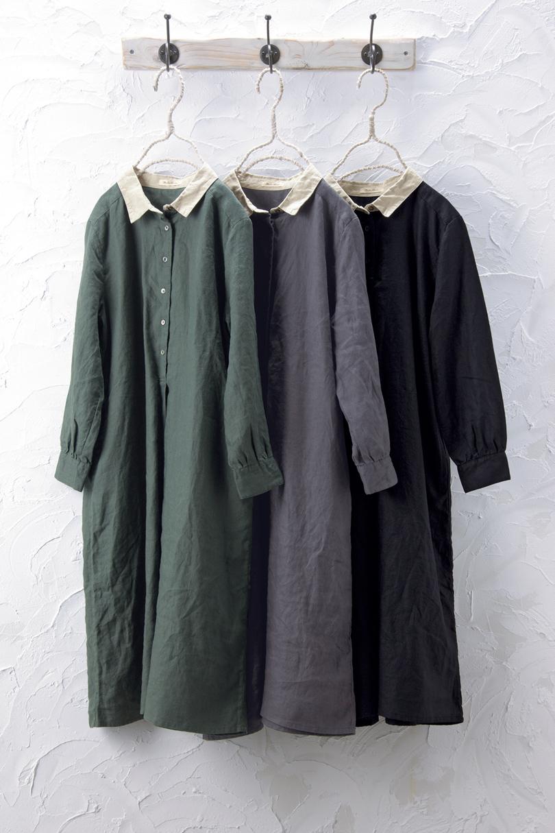 衿配色ワンピース(製品洗い)
