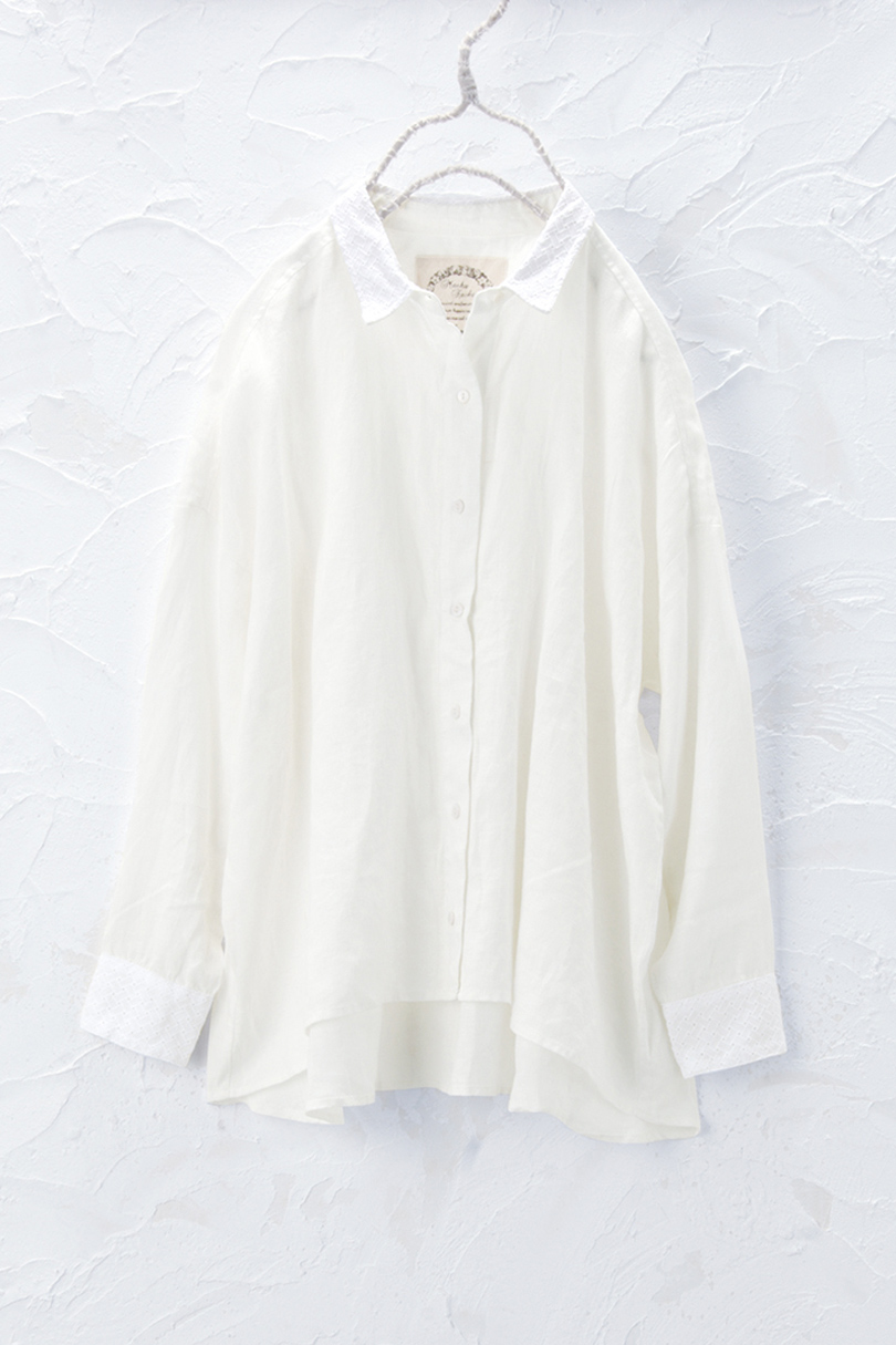 衿レースシャツ(製品洗い)