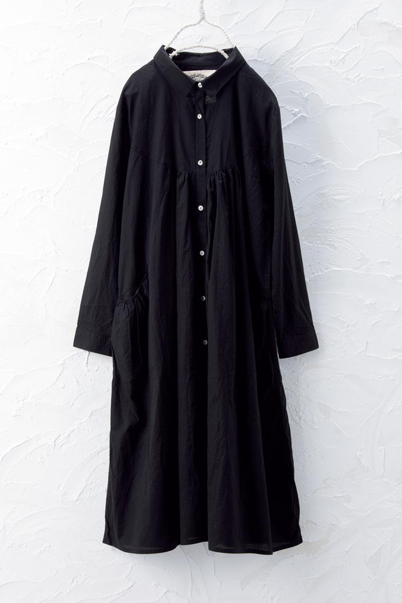 ギャザーシャツワンピース(製品洗い)