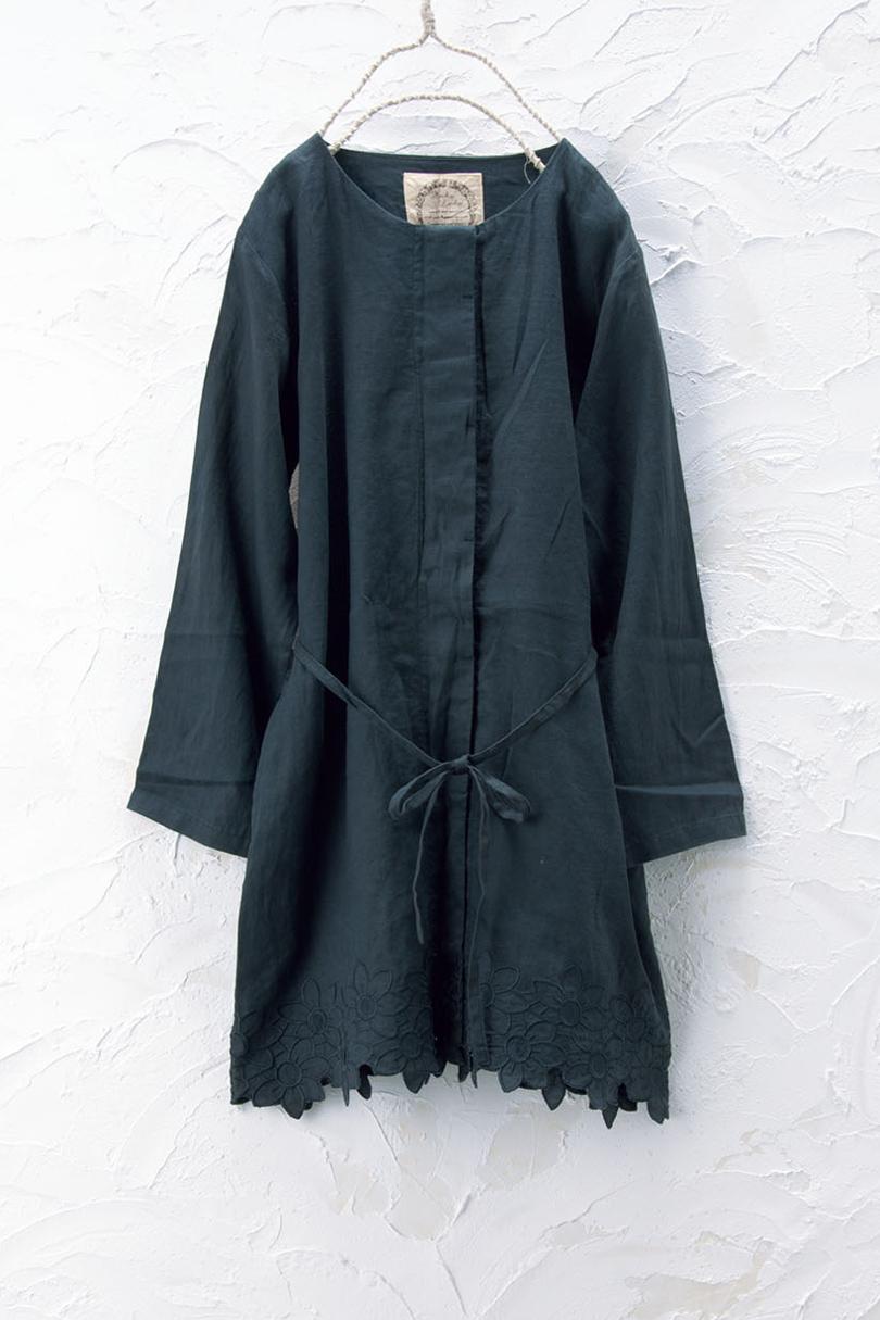 刺繍ノーカラーコート(製品洗い)