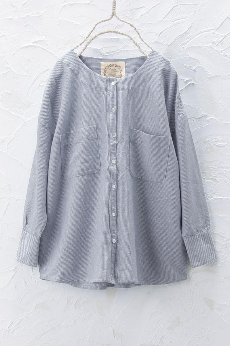 2WAYノーカラーシャツ(製品洗い)