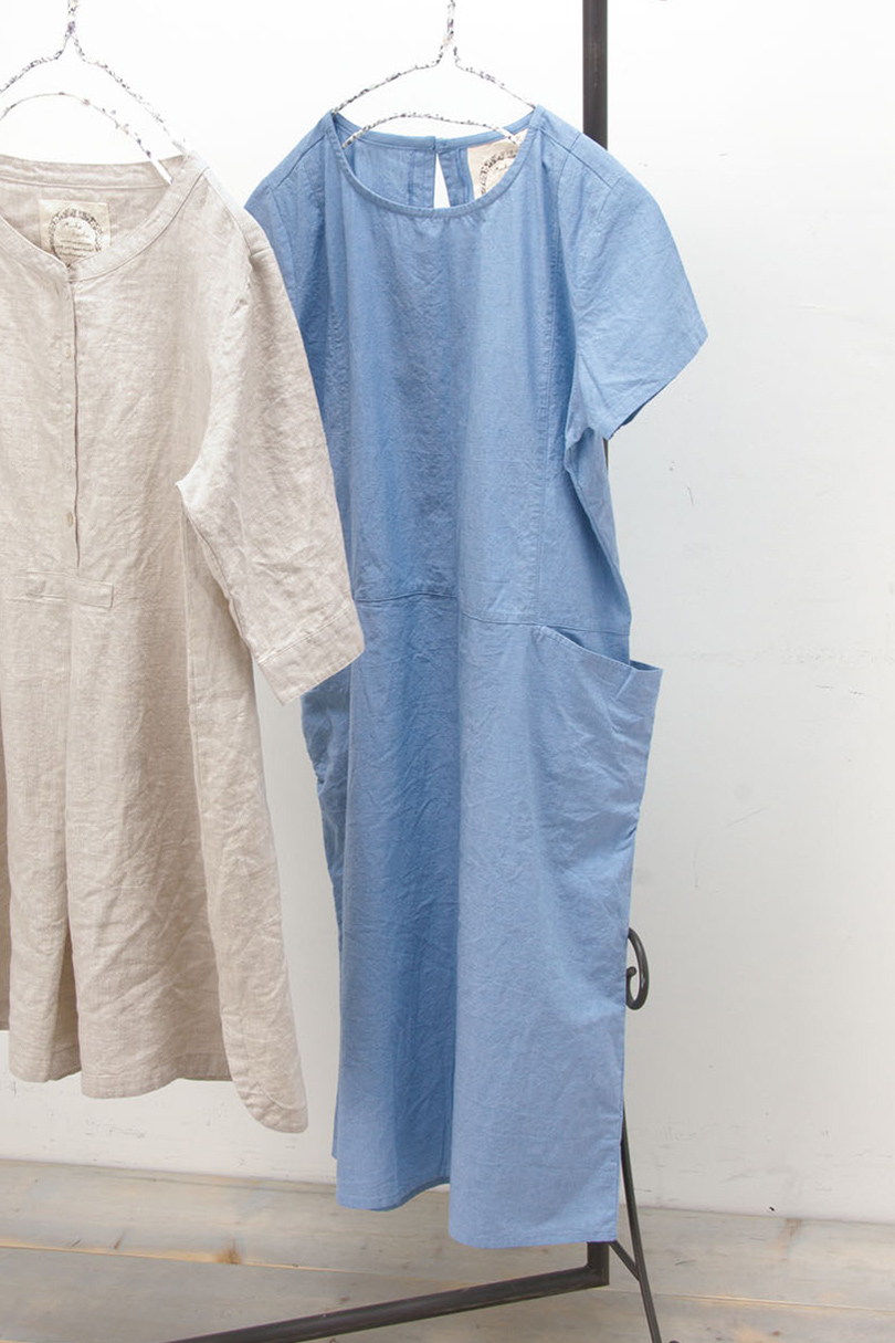 半袖切替えワンピース(製品洗い)