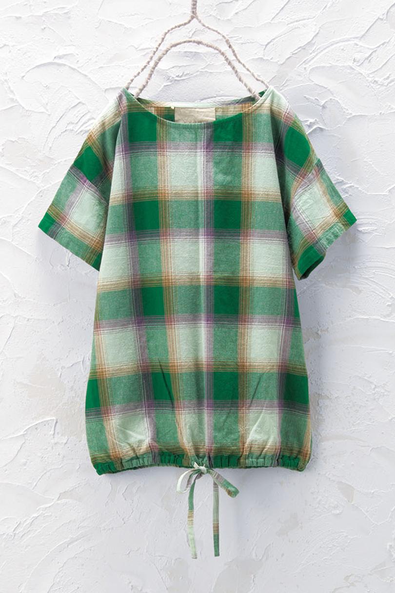 裾しぼりチェックプルオーバー(製品洗い)