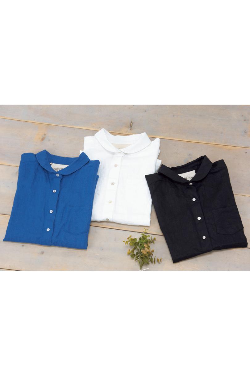 丸衿リネンシャツ(製品洗い)