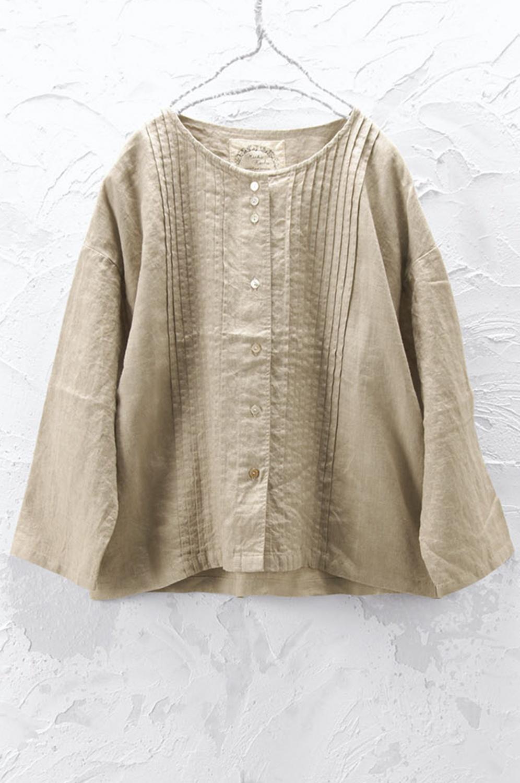 ノーカラーピンタックジャケット(製品洗い)