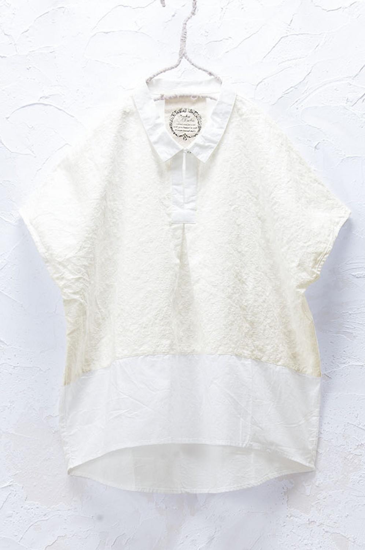 レース切り替えプルオーバーシャツ(製品洗い)