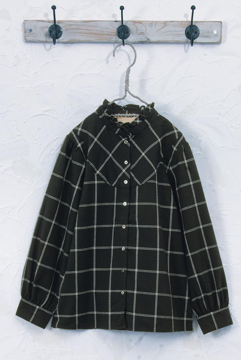 チェックブラウス(製品洗い)<br />□JPF-0816