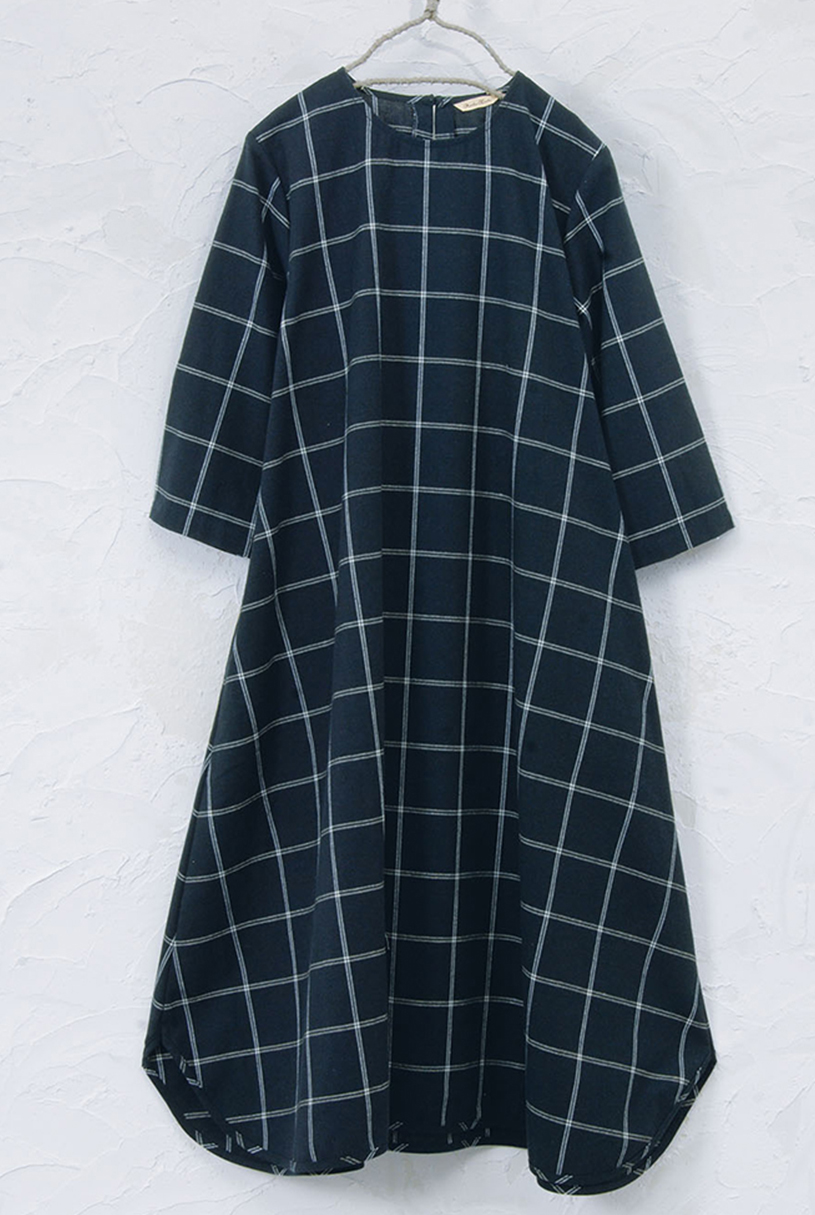 チェックワンピース(製品洗い)<br />□JPF-0817