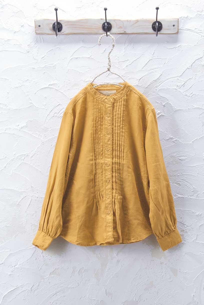 スタンドカラーシャツ(製品洗い)<br />□JCF-0908
