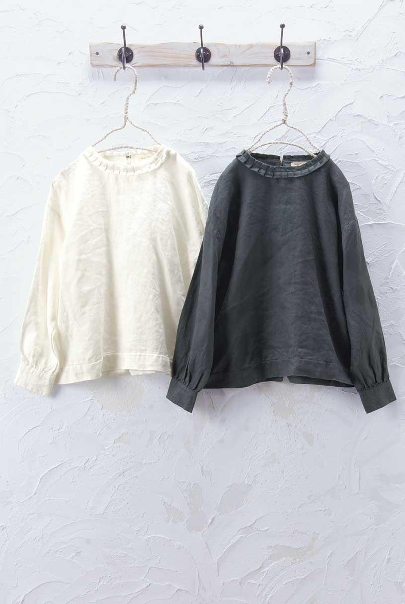 タック衿ブラウス(製品洗い)<br />□JCF-0909