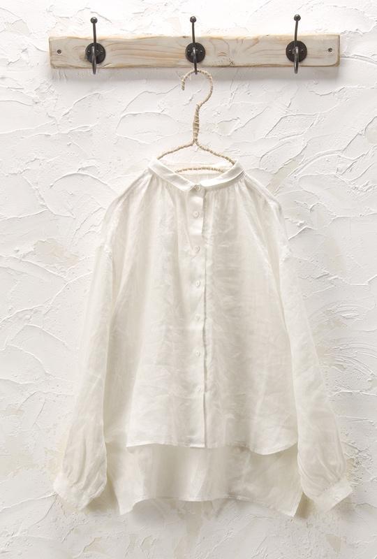 丸衿ギャザーシャツ<br />□JCF-0220
