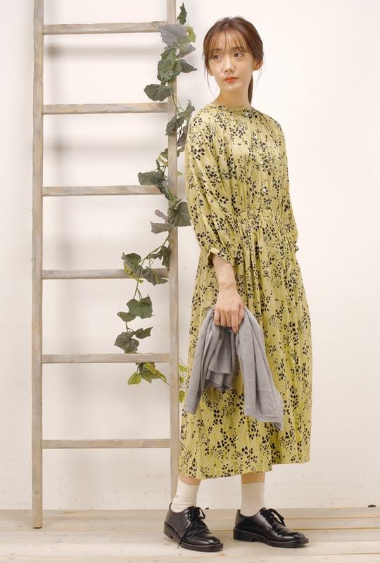 カットドビー花柄ワンピース<br>□JCF-0223