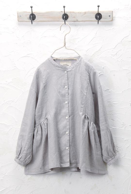 切替ギャザーシャツ(製品洗い)<br />□JCF-0328