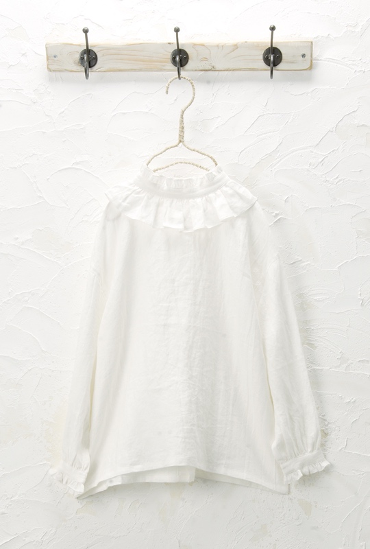 フリル衿プルオーバー(製品洗い)<br>□JMF-0308