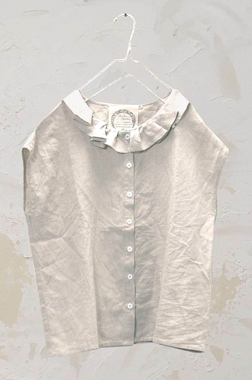 フリルカラーブラウス(製品洗い)<br />□KMF-0504
